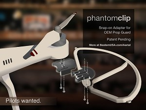 PhantomClip - Snap-on adapter for DJI Phantom 1 and 2 (vision, vision+ and all models) OEM prop guards. Requires OEM prop guard from DJI.